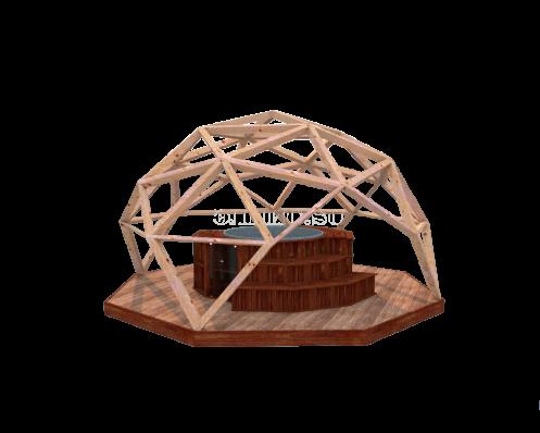 Деревянный шатер (геодезический купол) D6